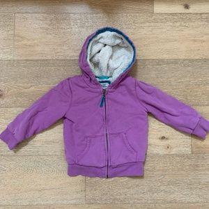 Mini Boden • Purple Sherpa Lined Hoodie 3-4 years